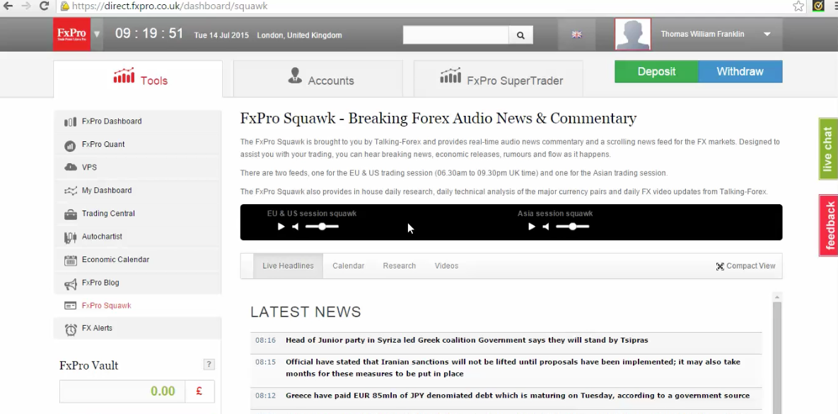 setting up fxpro squawk learn to trade the news