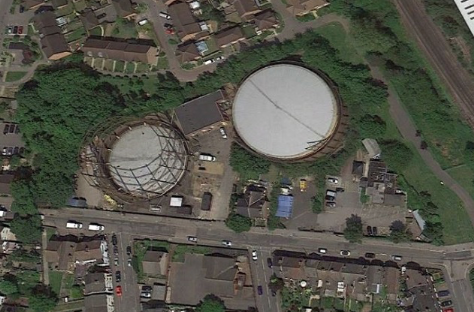 Gas holder from Google Earth. src. Reigate.uk
